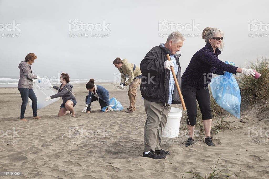 A teamwork concept of a beach clean up royalty-free stock photo