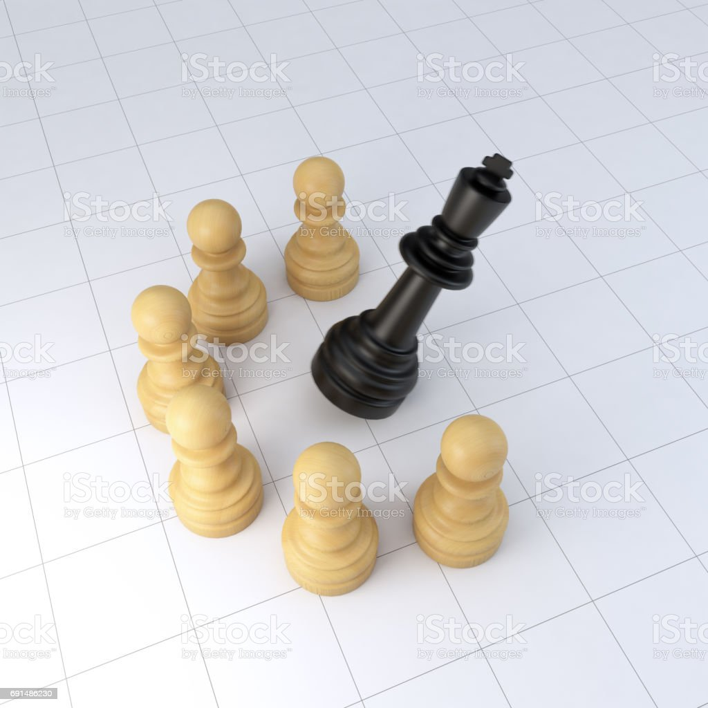 Teamwork Concept With Chess Pawn Circle and The Falling King stock photo