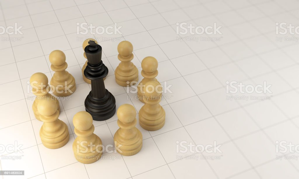 Teamwork Concept With Chess Pawn Circle and The King stock photo