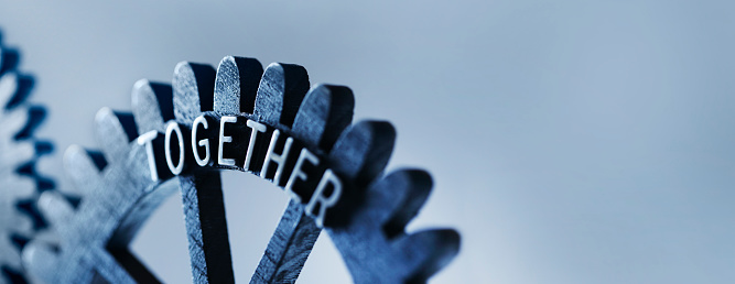Connected gears with together text. Not oversized, digital composite from more images!
