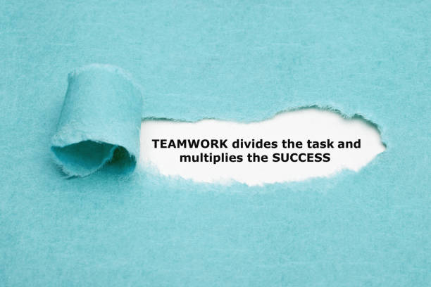 Teamwork Divides Task And Multiplies Success Inspirational quote TEAMWORK divides the task and multiplies the SUCCESS appearing behind torn blue paper. motivation stock pictures, royalty-free photos & images