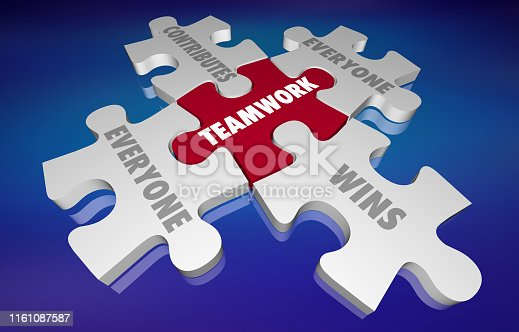 Teamwork Everyone Contributes and Wins Puzzle Pieces 3d Illustration