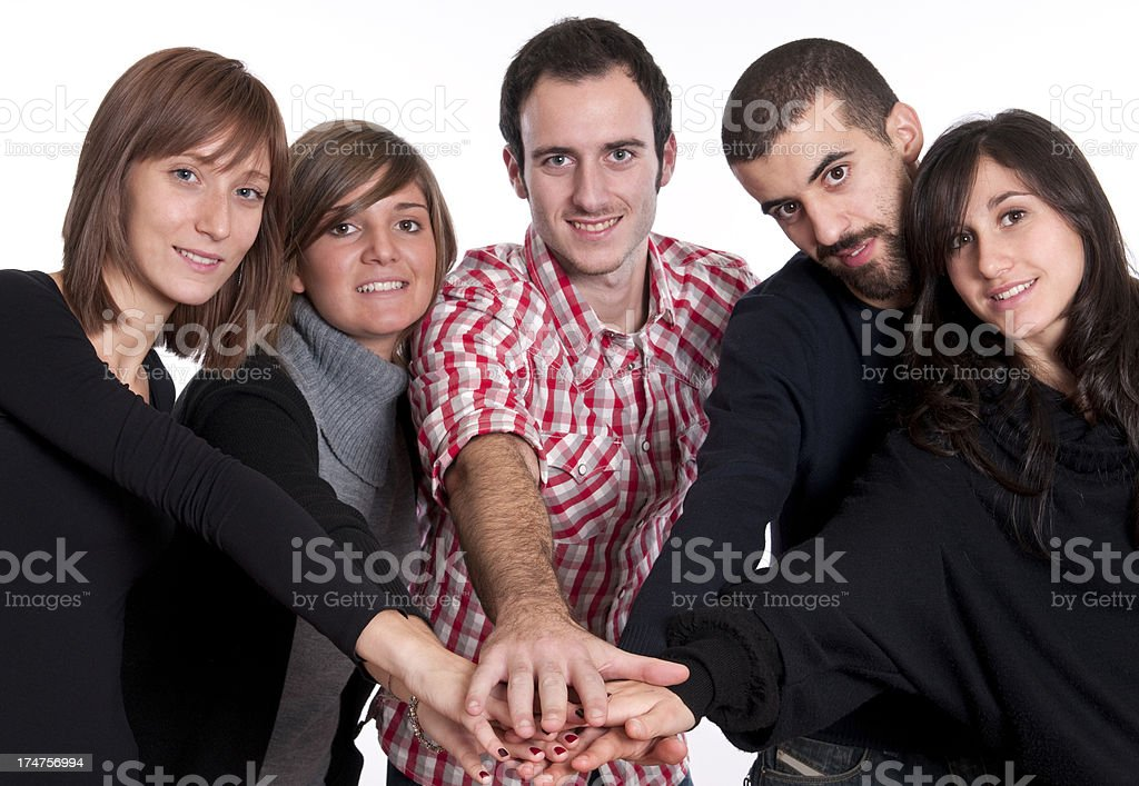 Teamwork Hands Clasped Isolated royalty-free stock photo