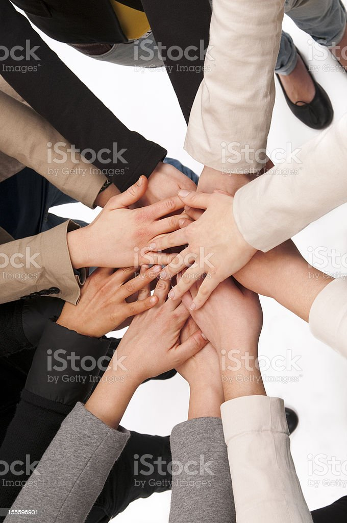 Teamwork Hands Clasped royalty-free stock photo