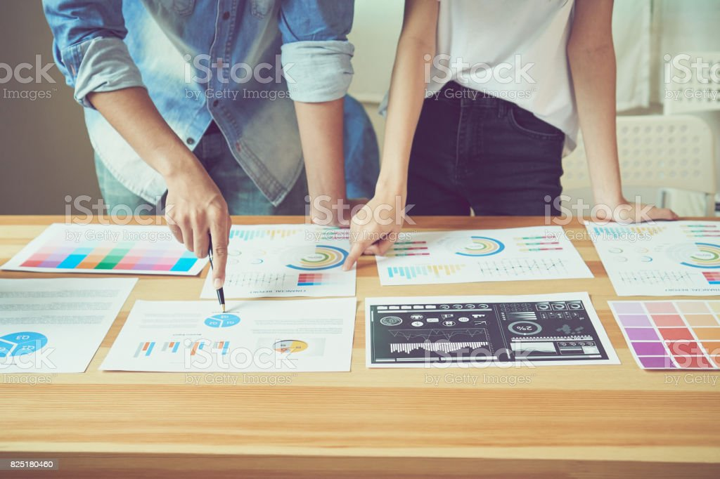 Teamwork helps us select the best information. To bring to customers to use in successful work. Quality work concept, vintage effect. stock photo