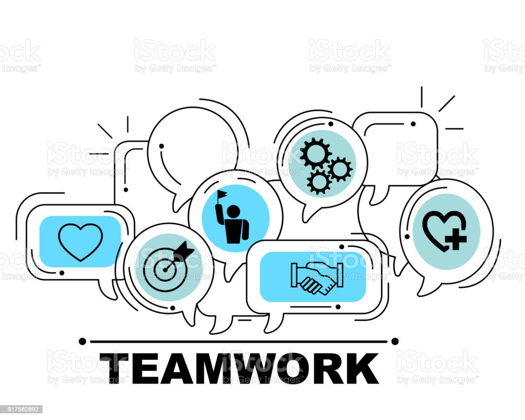 Teamwork icons set for business illustration design stock photo