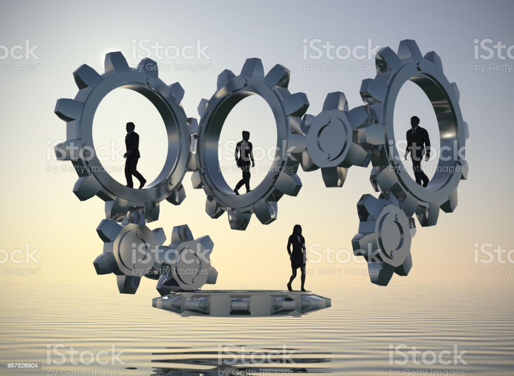 Teamwork in Gears at sea at dawn as 3d rendering. stock photo