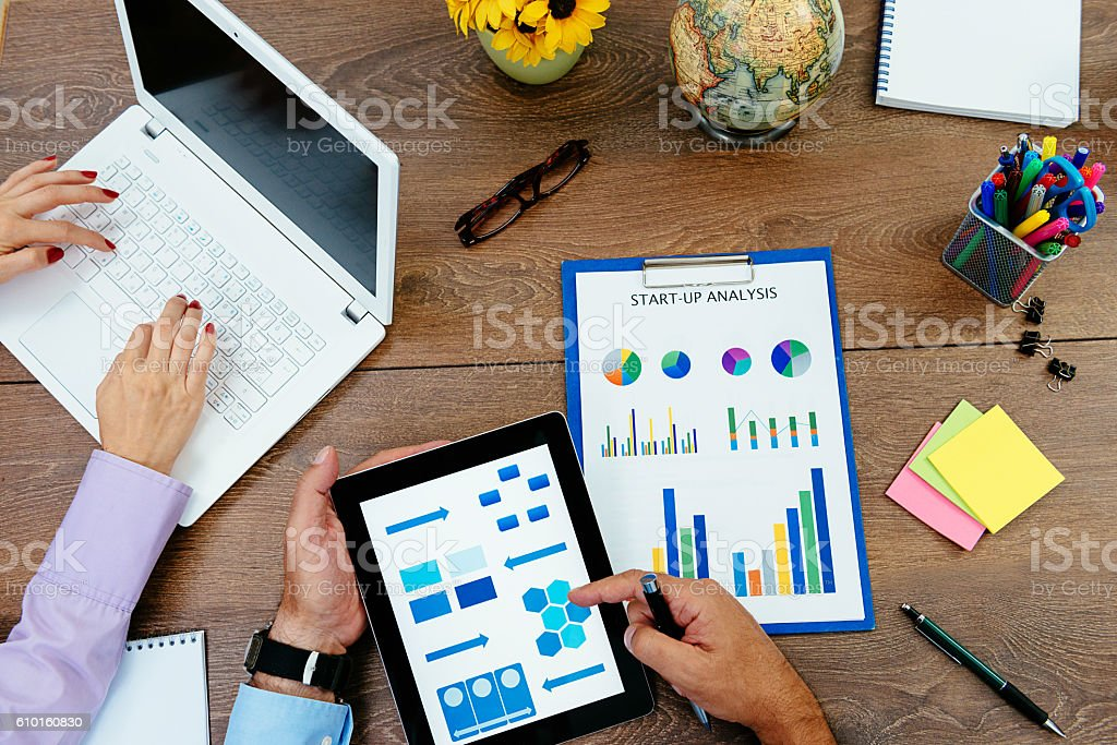 Teamwork in office, collaboration and leadership stock photo