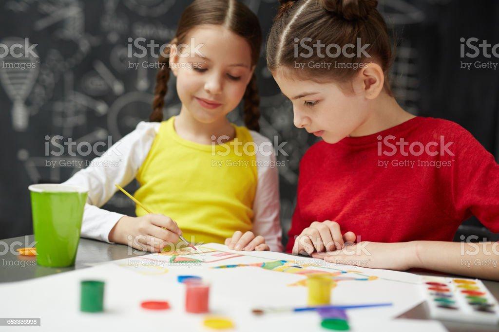 Teamwork in school royalty-free stock photo