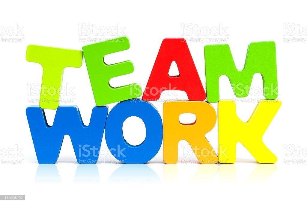 Teamwork isolated on white background royalty-free stock photo