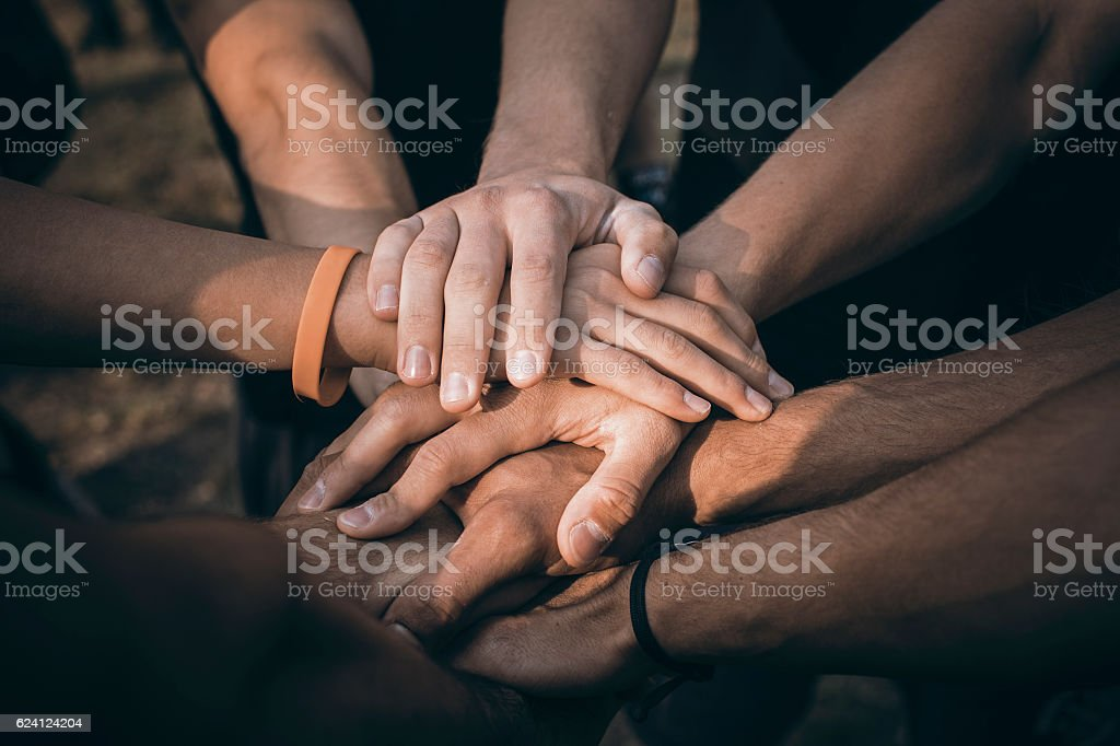 Teamwork Join Hands Support Together Concept. Sports People Joining Hands. - foto de stock
