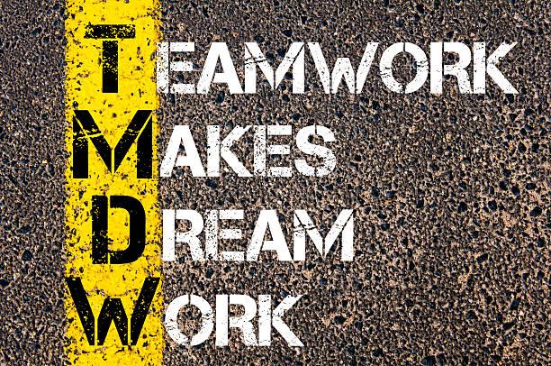 teamarbeit macht träume arbeiten motivierende angebot. - traum team stock-fotos und bilder
