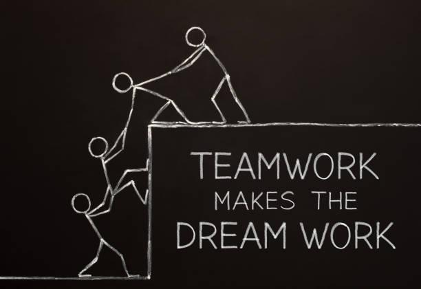 teamarbeit macht das traum-work-konzept - traum team stock-fotos und bilder