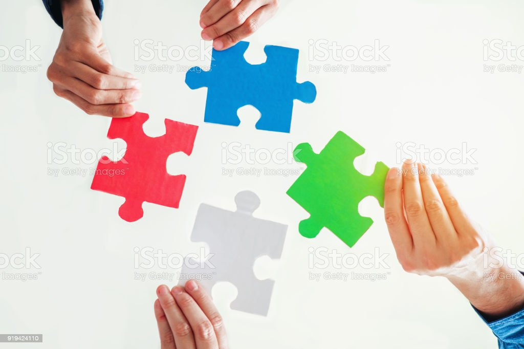 Teamarbeit treffen Business Jigsaw Puzzle zusammen Lösungskonzept – Foto