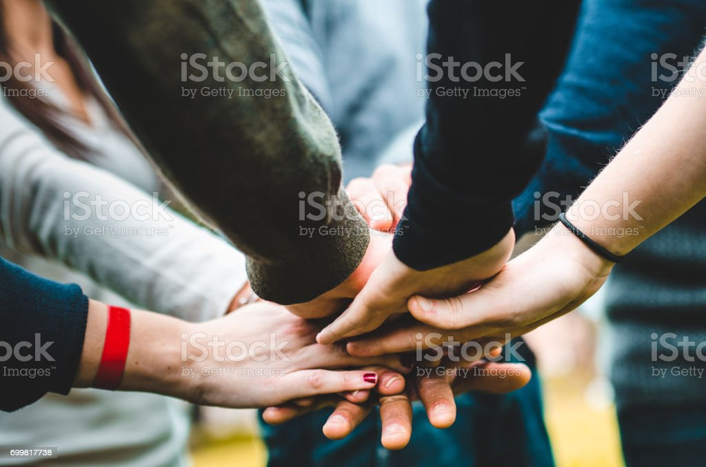 teamwork of a group of people stock photo