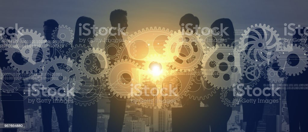 Teamwork of business concept. stock photo