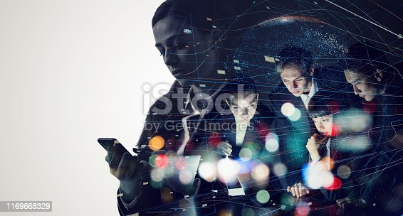 istock Teamwork of business concept. Professional engineers. Communication network. 1169668329