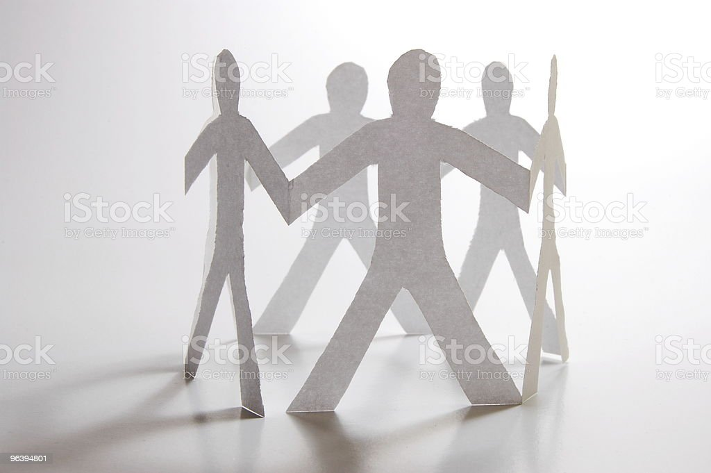 teamwork of paper man - Royalty-free A Helping Hand Stock Photo