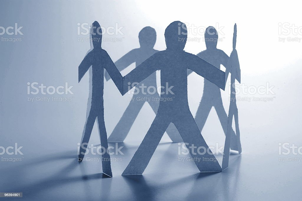 teamwork of paper man - Royalty-free Adult Stock Photo