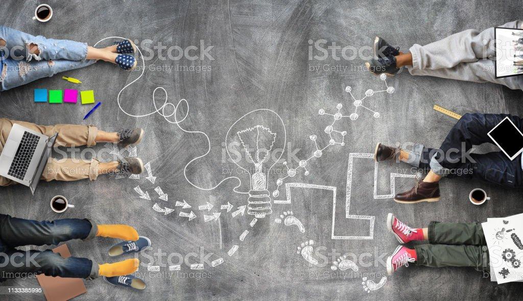 Teamwork van het personeel, creatief werk - Royalty-free Bedrijfsleven Stockfoto