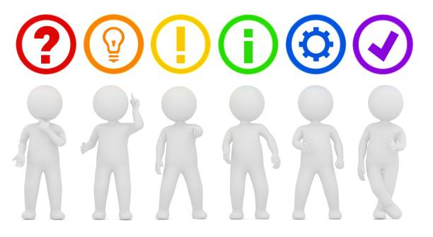 teamwork people men red question mark orange ideas light bulb yellow gold exclamation point green instructions information blue gear purple check mark tick sign symbol icon 3d rendering graphics isolated on white background stock photo