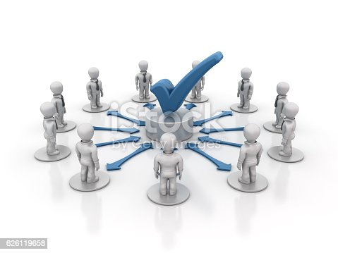 Teamwork People with Check Mark - White background - 3D Rendering