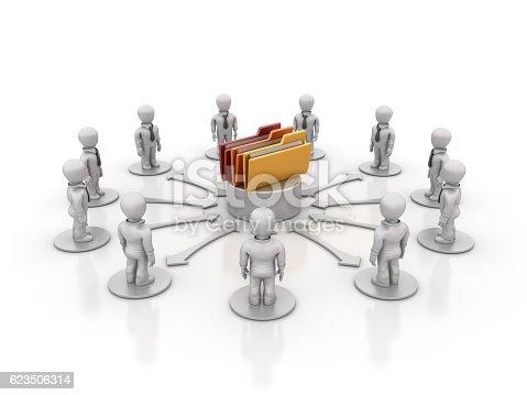 istock Teamwork People with Computer Folders - 3D Rendering 623506314