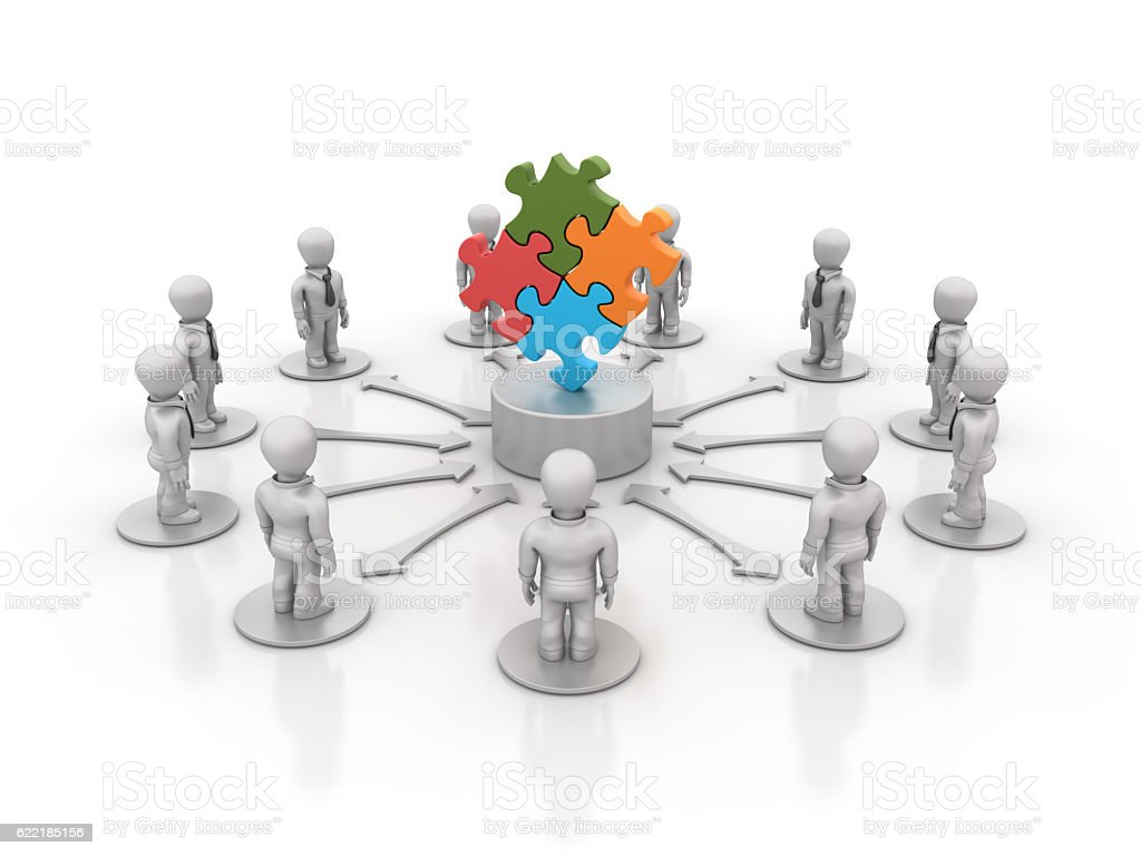 Teamwork People with Puzzle Pieces - 3D Rendering stock photo
