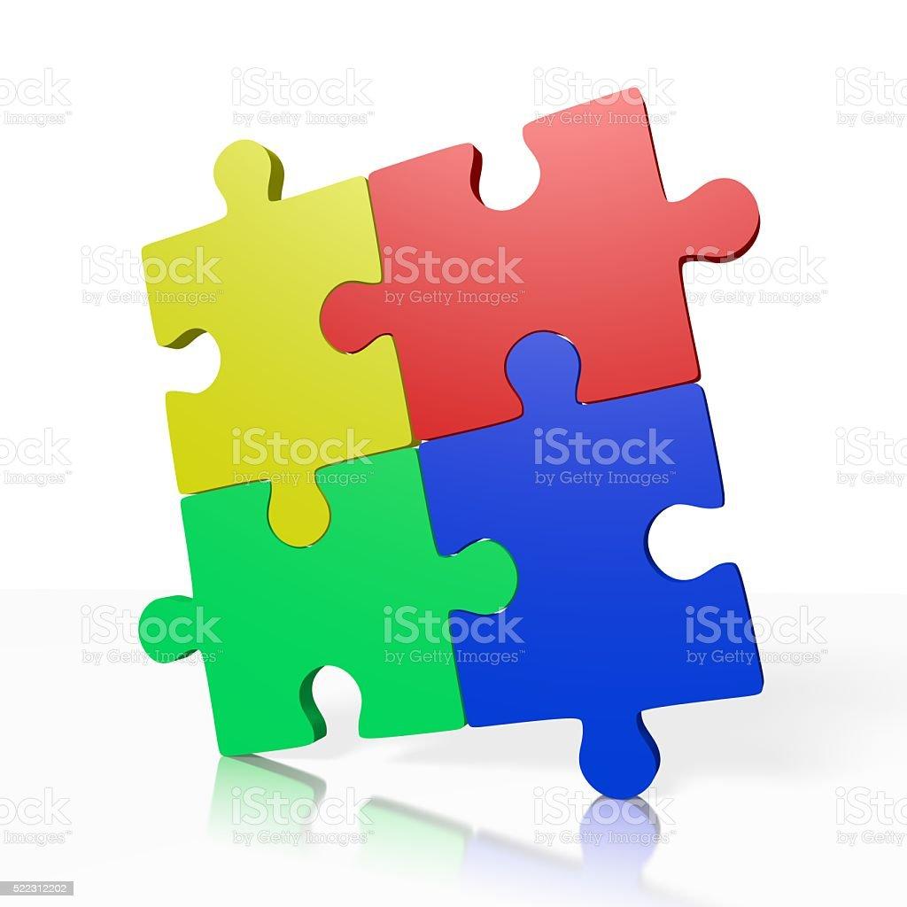 3D teamwork/ puzzle concept stock photo