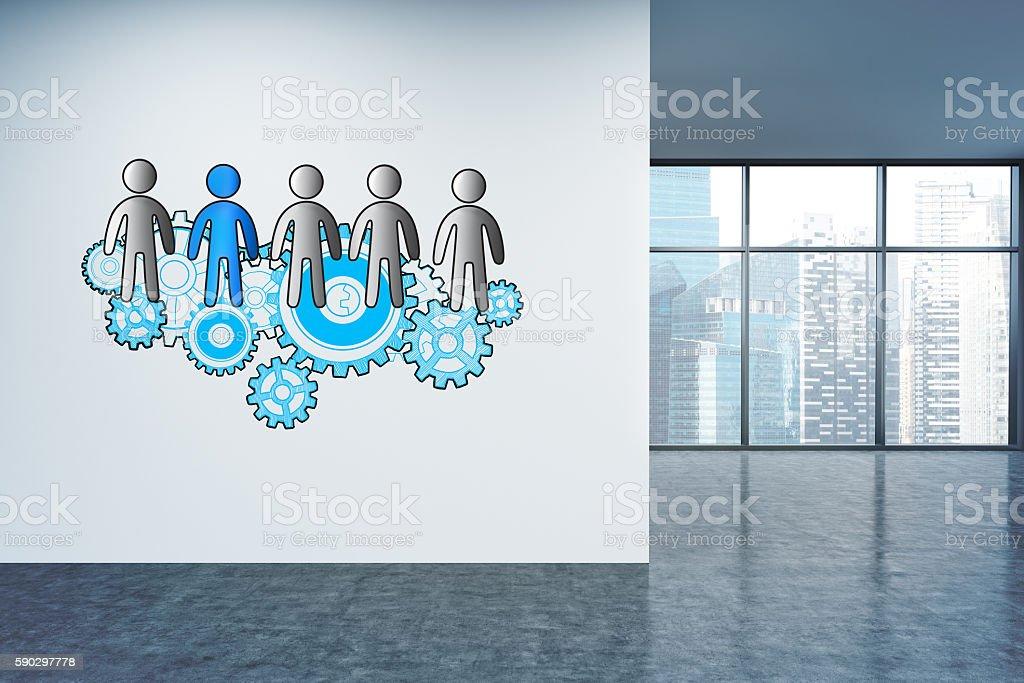 Teamwork sketch on office wall royaltyfri bildbanksbilder