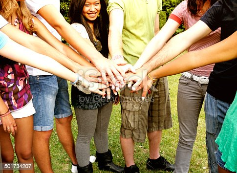 istock Teamwork Stack Of Hands Outdoor 501734207