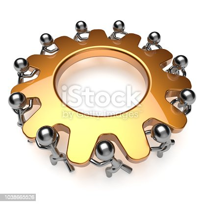 istock Teamwork unity partnership business process hard job gear 1038665526