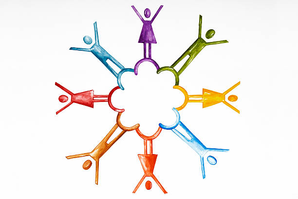 teamwork, watercolour - clip art stock photos and pictures