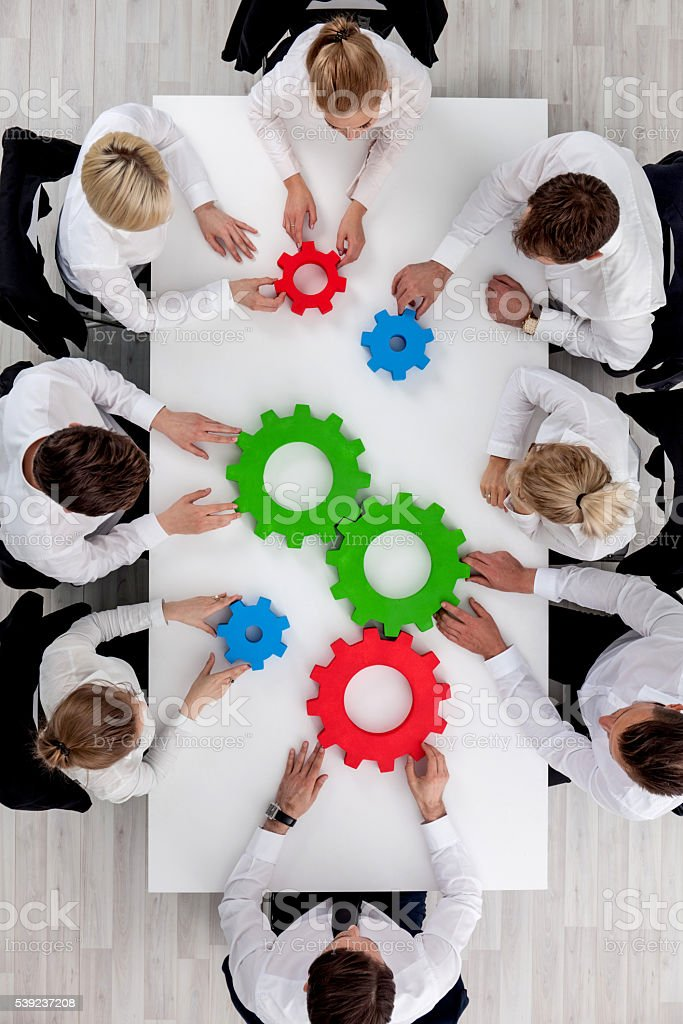 Teamwork with cogs of business royalty-free stock photo