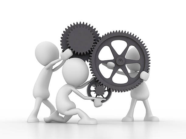 teamwork  with gears - stick figure stock photos and pictures