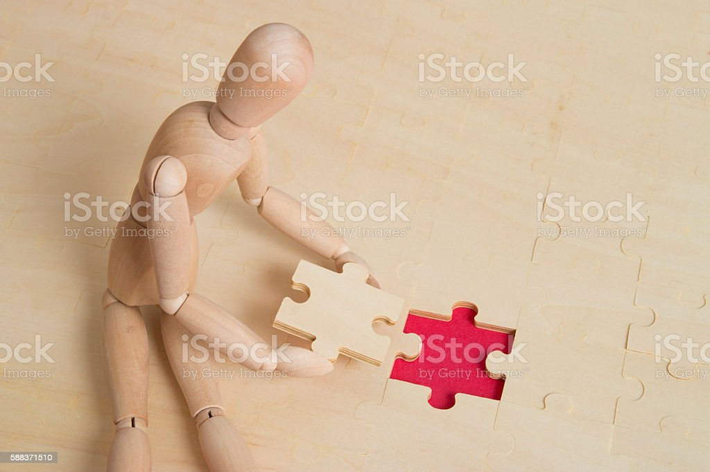 teamwork with puzzle piece stock photo