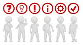 teamwork working question mark ideas light bulb exclamation point instructions information sign symbol gear icon check mark tick label ok sign red 3d rendering illustration with white stick figure man person isolated on white background