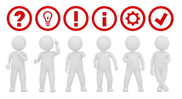teamwork working question mark ideas light bulb exclamation point instructions information sign symbol gear icon check mark tick label ok sign red 3d rendering illustration with white stick figure man person isolated on white background stock photo