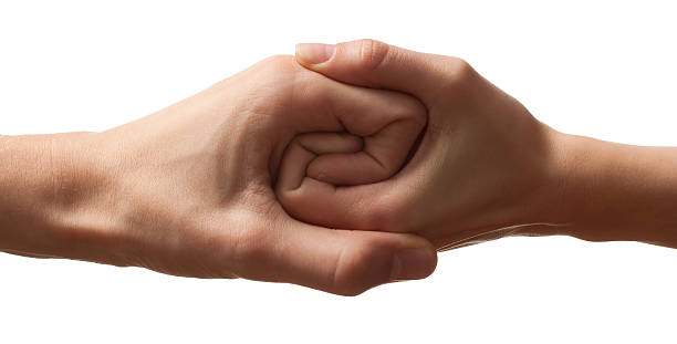 teamworking hands [white background] - yin yang symbol stock photos and pictures