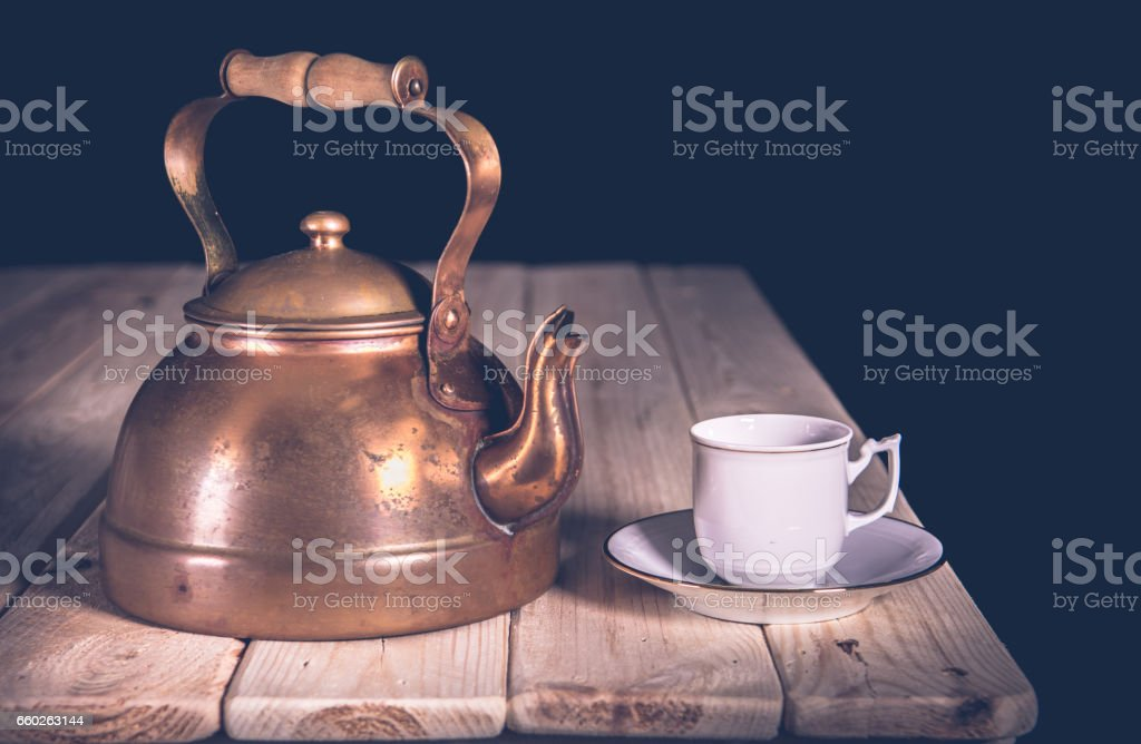 teapot and Cup Classic from you on wooden table vintage stock photo