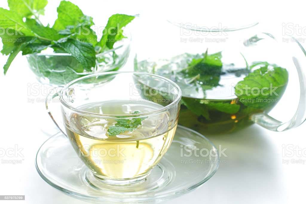 Teapot and cup of tea with mint stock photo