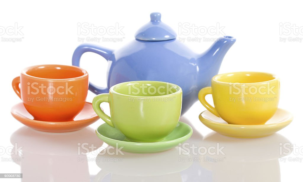 teapot and cup set stock photo