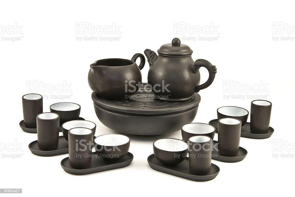Théière et tasses pour cérémonie du thé photo libre de droits