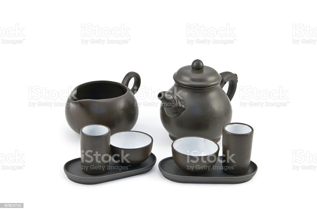Teapot and cups for tea ceremony royaltyfri bildbanksbilder
