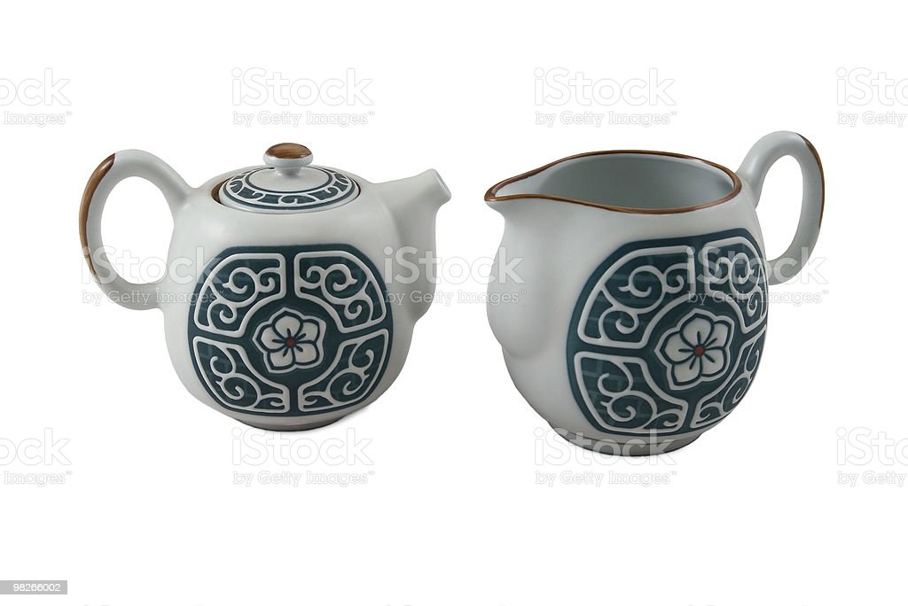 teapot and jug with traditional blue ornament royalty-free stock photo