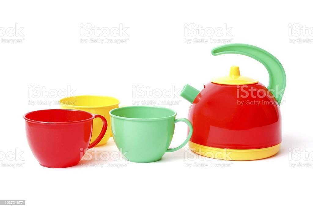 teapot and three cups royalty-free stock photo