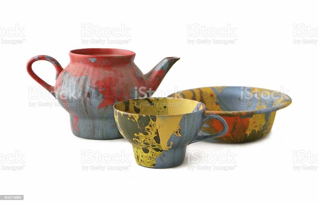 Teapot, cup and plate royalty-free stock photo