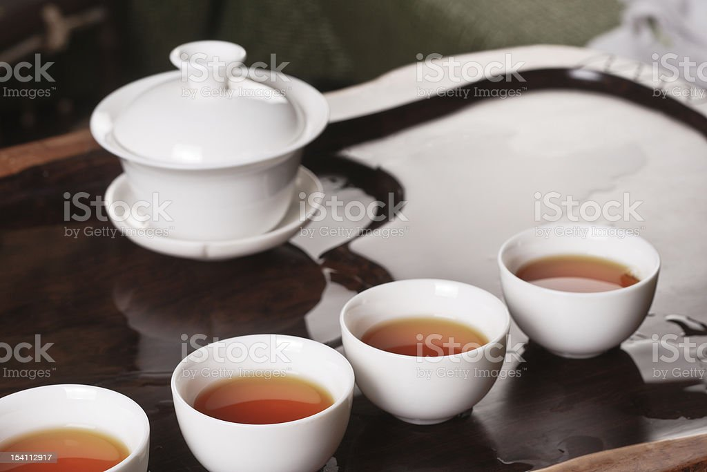 Teapot, cups and tea royalty-free stock photo
