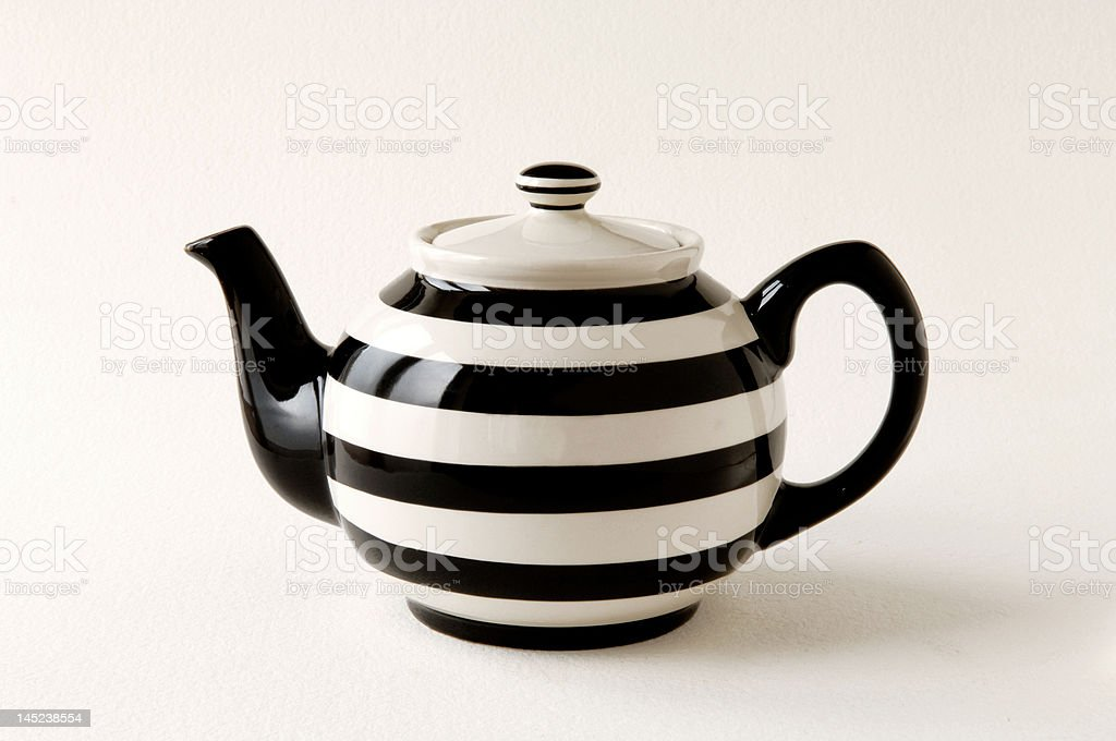 Teapot striped black & white royalty-free stock photo
