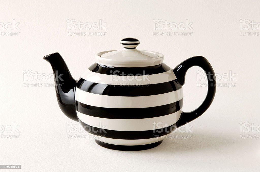 Teapot striped black & white stock photo